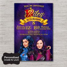 Descendants invitation,Descendants Birthday invite,Descendants party,Printed invites,Villans Invite,Descendants,MLM67