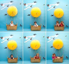 DIY kids' hot air balloon photo booth. Great party idea! Little kids.