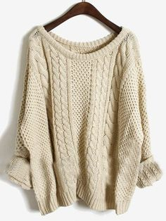 Beige Geometric Irregular Bat Sleeve Loose Acrylic Sweater ...