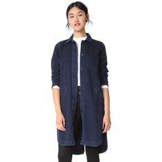 Baldwin Denim Charlie Denim Coat (22,440 INR) ❤ liked on Polyvore featuring outerwear, coats, collar coat, long denim coat, baldwin denim, long lightweight coat and lightweight coat