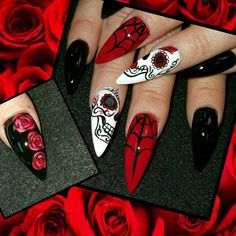 Sugar skulls by from Nail Art Gallery Nail art from the NAILS Magazine Nail Art Gallery, hand-painted, - Hand Nail Design FoR Women Holloween Nails, Nail Art Halloween, Halloween Nail Designs, Halloween Halloween, Halloween Movies, Vintage Halloween, Halloween Makeup, Halloween Decorations, Halloween Costumes