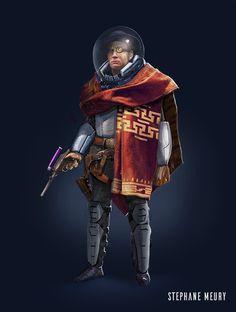 ArtStation - Space Cowboy, Stephane Meury #character #design #cowboy #concept #art #space #science #fiction #explorer #gameart