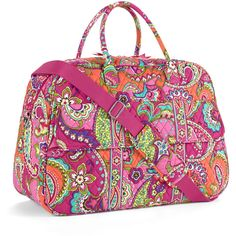 Vera Bradley Pink Swirls Grand Traveler Duffel Bag ($65) ❤ liked on Polyvore featuring bags and luggage