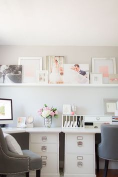 Pink & Gray Home Office Read More: https://www.stylemepretty.com/living/2014/10/02/pink-gray-home-office/