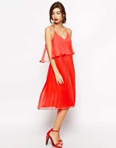 ASOS Cami Swing Dress with Pleated Skirt