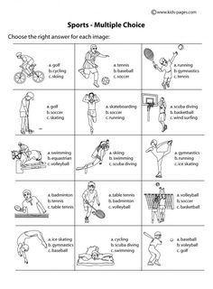 sport worksheets for kids | choice b w worksheet sports index printable…