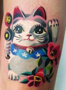 Chinese cat tattoo, Sasha Unisex Tattoo, St. Petersburg, Russia