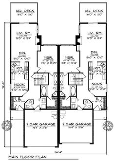 Ranch multi family plan 62376 ranch for Multi family house plans apartment