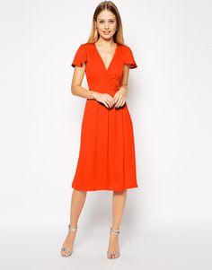 bridesmaid dress! ASOS Premium Satin Cross Front Midi Dress in pink not red