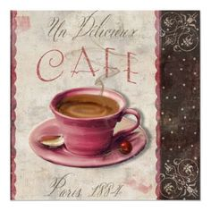 Delicious Coffee, Vintage Paris Cafe Poster by colorbakery