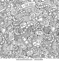 Find Cartoon Vector Doodles Hand Drawn Cinema Seamless Pattern Stock Vectors And Millions Of Other Royalty Free Photos Illustrations In