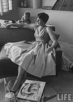 LIFE Magazine--Miss America of 1942 Mrs. Russell Stoneham, formerly Jo-Carroll Dennison.  Location:CA, US  Date taken:August 1959  Photographer:Allan Grant