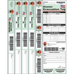 The DMS-05582 Disaster Evacuation Wristband Tag from DMS features a bar-coded evacuee wristband, 3 luggage tags with matching bar-codes, plus 3 stickers with matching bar-codes for application to bags or boxes.