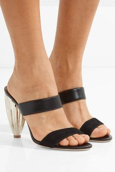 Heel measures approximately 70mm/ 3 inches Black suede and leather Slips on Made in ItalySmall to size. See Size & Fit notes.