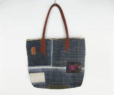 Tote Hand Stitched Indigo Patched Bag with Brown by avivaschwarz