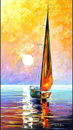 Gold Sailboat Palette Knife Oil Painting On Canvas Leonid Afremov Oil Painting Flowers, Oil Painting Abstract, Painting Canvas, Canvas Canvas, Palette Knife Painting, Underwater Painting, Body Painting, Shadow Painting, Painting Clouds