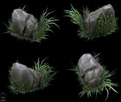 cartoony stone, Alexander Sychov on ArtStation at https://www.artstation.com/artwork/cartoony-stone