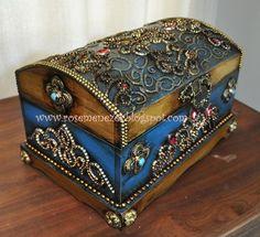 Apostila de pintura Decorativa Rose Menezes: Baú Sherazade Azul