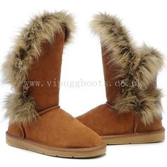 Jimmy Choo Fox Fur Ugg Boots - Chestnut  YES please!!
