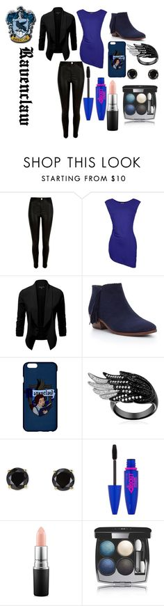"""""""Ravenclaw"""" by isabellatbakken ❤ liked on Polyvore featuring River Island, Barbour International, Sam Edelman, Jardin, Maybelline, MAC Cosmetics and Chanel"""