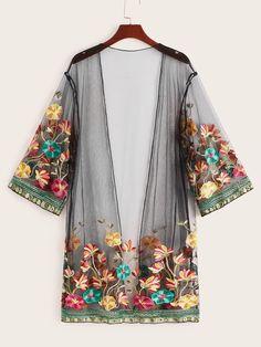 Plus Floral Embroidery Sheer Mesh Kimono Motif Kimono, Floral Kimono, Floral Cardigan, Boho Kimono, Kimono Cardigan, Kimono Top, Kimono Fashion, Fashion Dresses, Fashion Shirts