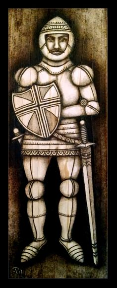 Medieval knight on cedar (5 x 15 inches), inspired by stone effigies of the middle ages. ($45)