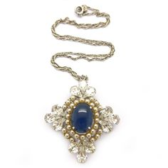 Vintage 1962 Christian Dior Couture Pearl Rhinestone Pendant Brooch | Clarice Jewellery | Vintage Costume Jewellery