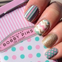 If you want a unique and stylish design, then consider polishing your nails with dots and stripes nail art design. Here are the best ideas for a joyful spring designs on your nails. Get Nails, Fancy Nails, Love Nails, Hair And Nails, Fabulous Nails, Perfect Nails, Gorgeous Nails, Pretty Nails, Striped Nail Designs