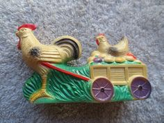 Vintage Viscoloid Celluloid Rooster Cart