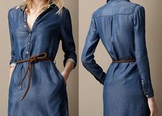 European Fashion Women Girl Thin Denim Shirt Collar Straight Dress S M L in Clothing, Shoes & Accessories, Women's Clothing, Dresses Cotton Shirt Dress, Mini Shirt Dress, Long Sleeve Shirt Dress, Denim Fashion, Look Fashion, Fashion Outfits, Fashion Women, Jeans Dress, I Dress