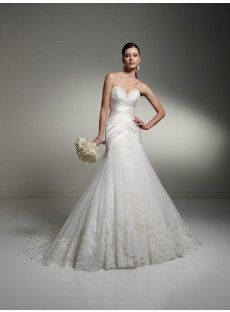 Train Tulle A Line Wedding Dress