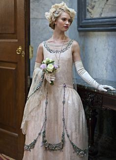 Vintage beauty. Lady Rose of #DowntonAbbey wearing a crystallized dress in last night's finale #DowntonPBS
