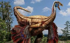 An artist's impression of how the Canadian Ornithomimosaur fossils might have looked in their feathered finery