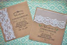 Invitación de 15 papel Kraft Vintage Invitations, Diy Invitations, Quinceanera Party, Ideas Para Fiestas, First Holy Communion, 15th Birthday, Vintage Party, Holidays And Events, Vintage Floral