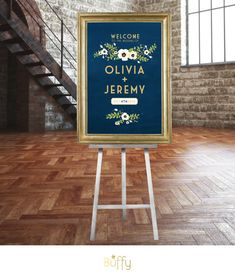 Gold & Navy Chalkboard Wedding Welcome Sign . Vintage Floral Party Sign Rustic…