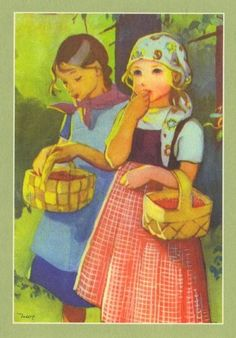 Martta Wendelin was a Finnish artist whose work was widely used to illustrate fairy tales and books, postcards, school books, magazine and book covers. Vintage Cards, Vintage Postcards, Adorable Petite Fille, Children's Book Illustration, Christmas Art, Vintage Children, Martini, Childrens Books, Illustrators