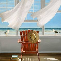 Shop for Lookout by Karen Hollingsworth Gallery-Wrapped Canvas Giclee Art. Get free delivery On EVERYTHING* Overstock - Your Online Art Gallery Store! Painting Prints, Wall Art Prints, Fine Art Prints, Paintings, Art Web, Open Window, Am Meer, Windows, Stretched Canvas Prints