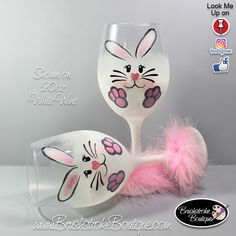 Hand Painted Wine Glass - Bunny Face - Personalized and Custom Painted Wine Glasses, Coffee Mugs & Ornaments by BrushStrokeBoutique on Etsy https://www.etsy.com/listing/587544694/hand-painted-wine-glass-bunny-face