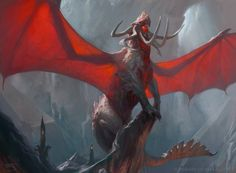 e621 architecture dragon feral front_view glowing horn macro magic_the_gathering membranous_wings official_art perched quadruped restricted_palette scalie signature spread_wings tusks tyler_jacobson wings