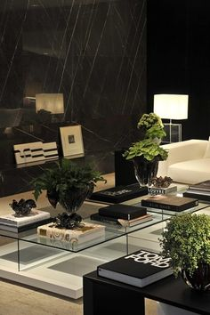 Modern Living Room with High ceiling, Ethan Allen Rectangular Glass Table Lamp, Marble.com black marquina marble, Carpet