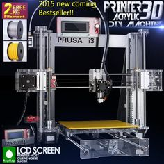 Upgraded Quality High Precision Reprap Prusa i3 DIY 3D Printer kit with 2  Rolls Filament 8GB SD card  and  LCD for Free