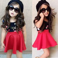 Cheap summer girls clothing sets, Buy Quality girl clothes set directly from China girls clothing sets Suppliers: New Summer Girls Clothing Set Red Skirt + Floral Shirt Baby Girls Clothes Set Years Children Clothing Set Kids Costume Cute Girl Outfits, Toddler Girl Outfits, Dress Outfits, Kids Outfits, Little Girl Fashion, Kids Fashion, Princess Dress Kids, Zen, Red Skirts