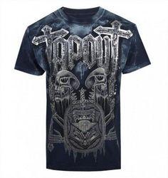 Espiral Directo cráneo Araña-Para hombres Mangas Cortas Camiseta Gótico cráneo Biker