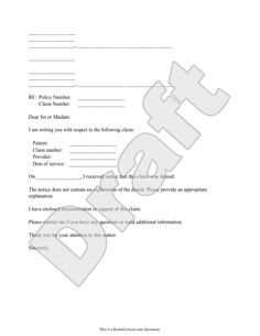 sample letter to appeal a medical claim denial form template. Resume Example. Resume CV Cover Letter