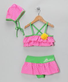 This Hot Pink & Green Polka Dot Tankini & Bonnet - Toddler & Girls by Diva Beach Baby is perfect! #zulilyfinds
