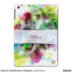 abstract colourful leaves with place for your name -  #personalized #iPad #air #cover #case