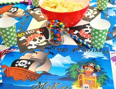 Personalized Paper Placemat PACKAGE  Pirate lover of by TIPgifts, $22.25