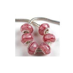 Lotto di 10 Perle Perline Beads a foro largo di Porcellana per Collana Bracciali di Tipo Pandora bigiotteria in stock