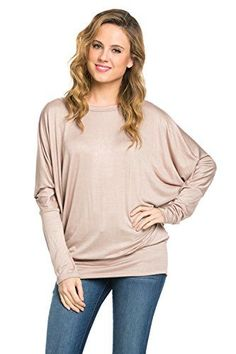 Women's Tunics - Frumos Womens Long Batwing Sleeve Drape Jersey T Shirts Tunic Top -- Be sure to check out this awesome product. (This is an Amazon affiliate link)