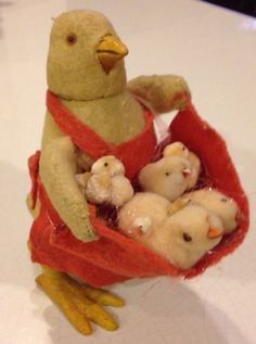 Antique Candy Container Germany Vintage Easter Chicks Hen Paper Mache Felt | eBay